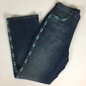 Ralph Lauren Turquoise Beaded High Waisted Jeans